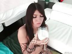 Gorgeous Brunette Swallows Massive Cock 1
